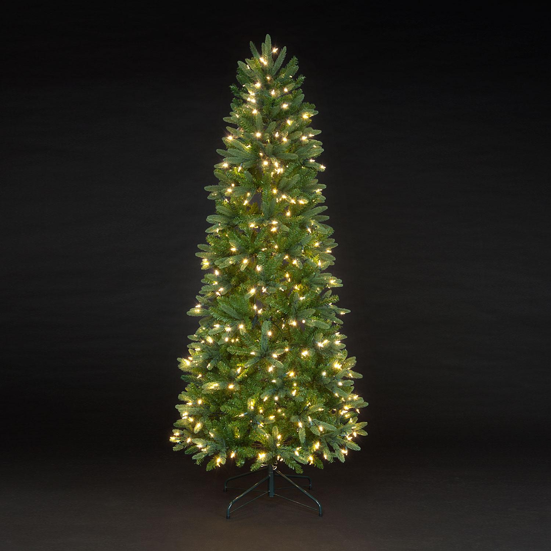 Pe Christmas Trees Uk: 150cm Pre-Lit Aspen Slim Pine PE Hinged/200 Plug-In WW