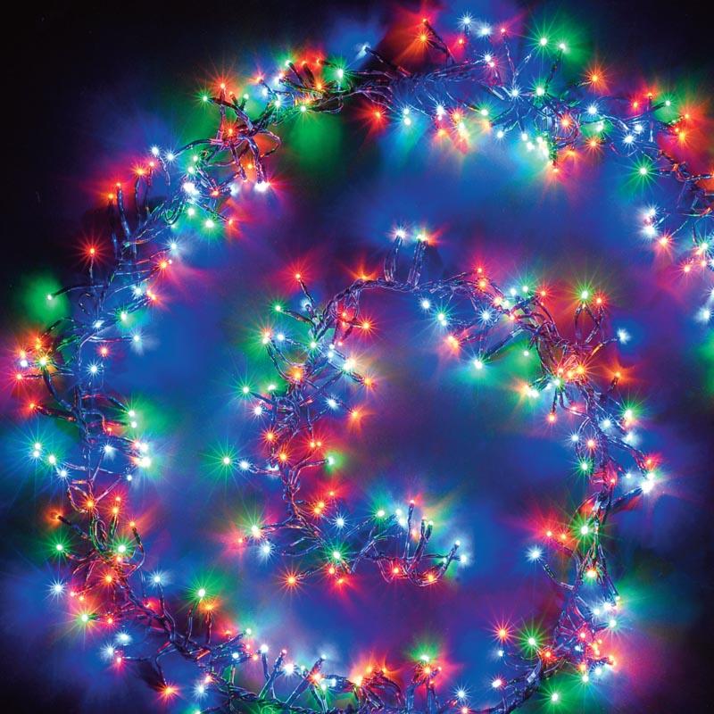 Christmas Workshop Cluster Lights: 1000 13m Multi Colour LED Cluster Chaser Lights W/Memory