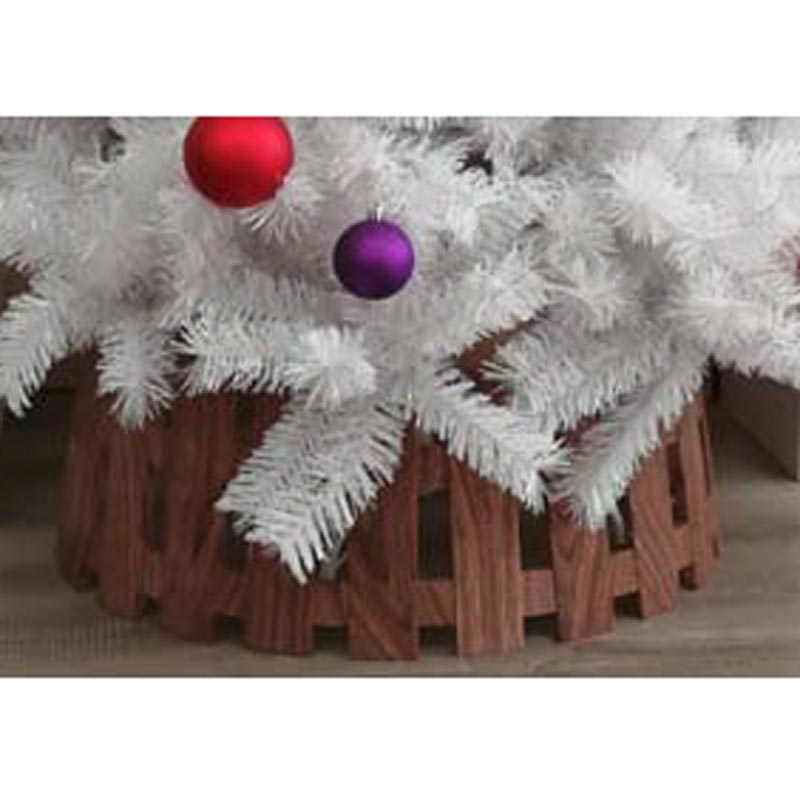 49 X 22cm Wood Effect Picket Fence Pvc Tree Collarsmall Trans