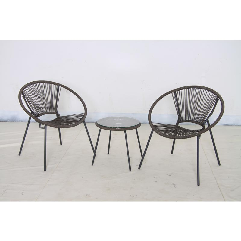 Classico Rattan Bistro Set Grey String Effect Trans