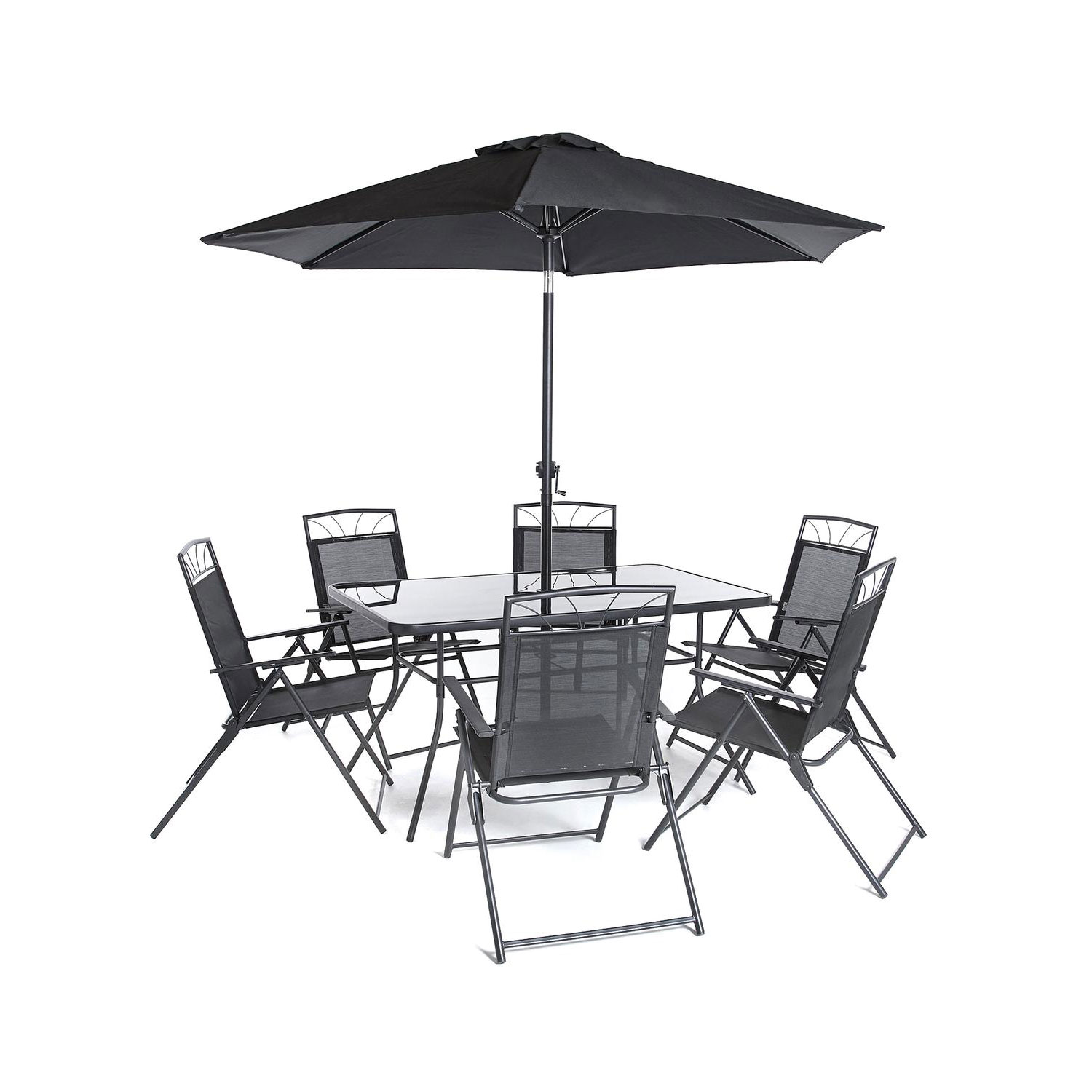 Memphis Furniture Company: 8pc Memphis Steel Dining Collection Black