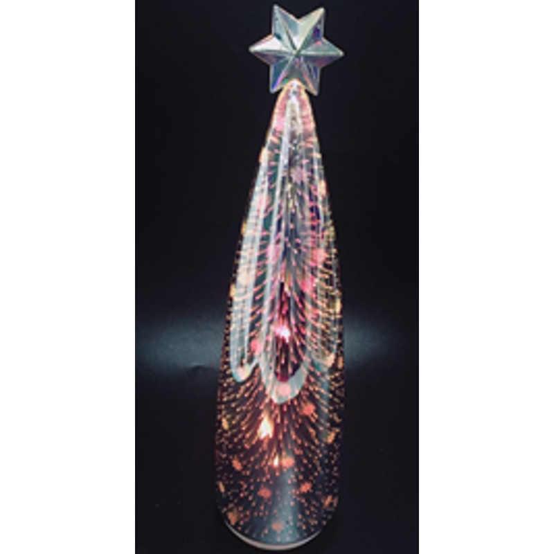 3d Glass Christmas Tree W Star On Top Rainbow Led Trans
