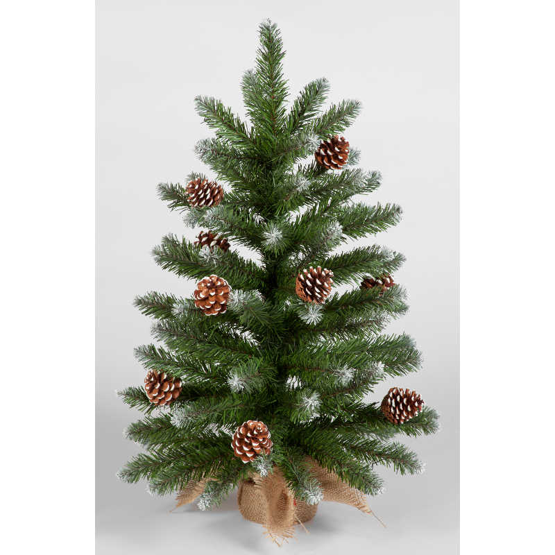 60cm Mini Frosted Norway Tree w/72 Tips and Pine Cones ...
