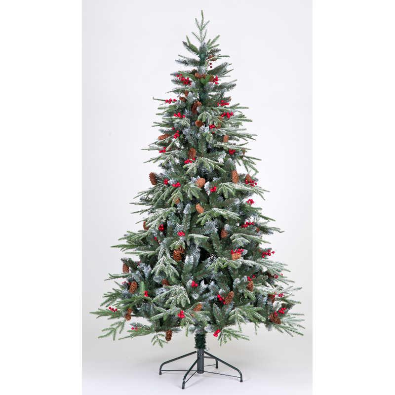 Pe Christmas Trees Uk: 150cm PE Flocked Tree W/Red Berry Clusters/Long Pinecones