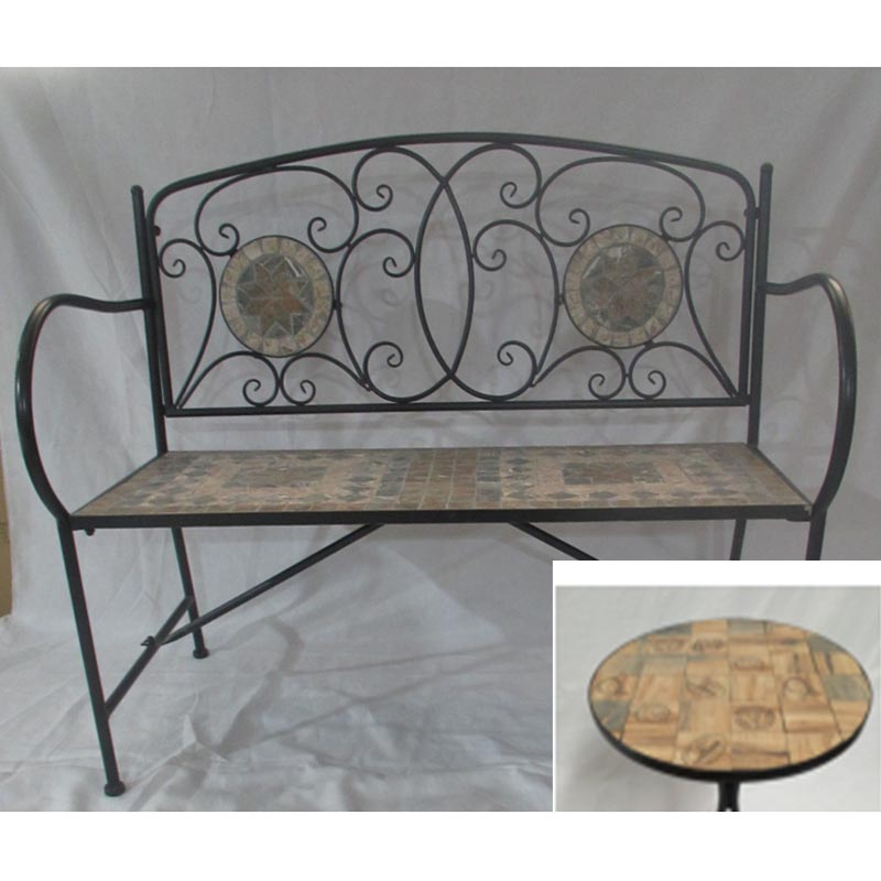 Tremendous Mosaic Bench Brown English Design Tiles On Back Seat Ncnpc Chair Design For Home Ncnpcorg
