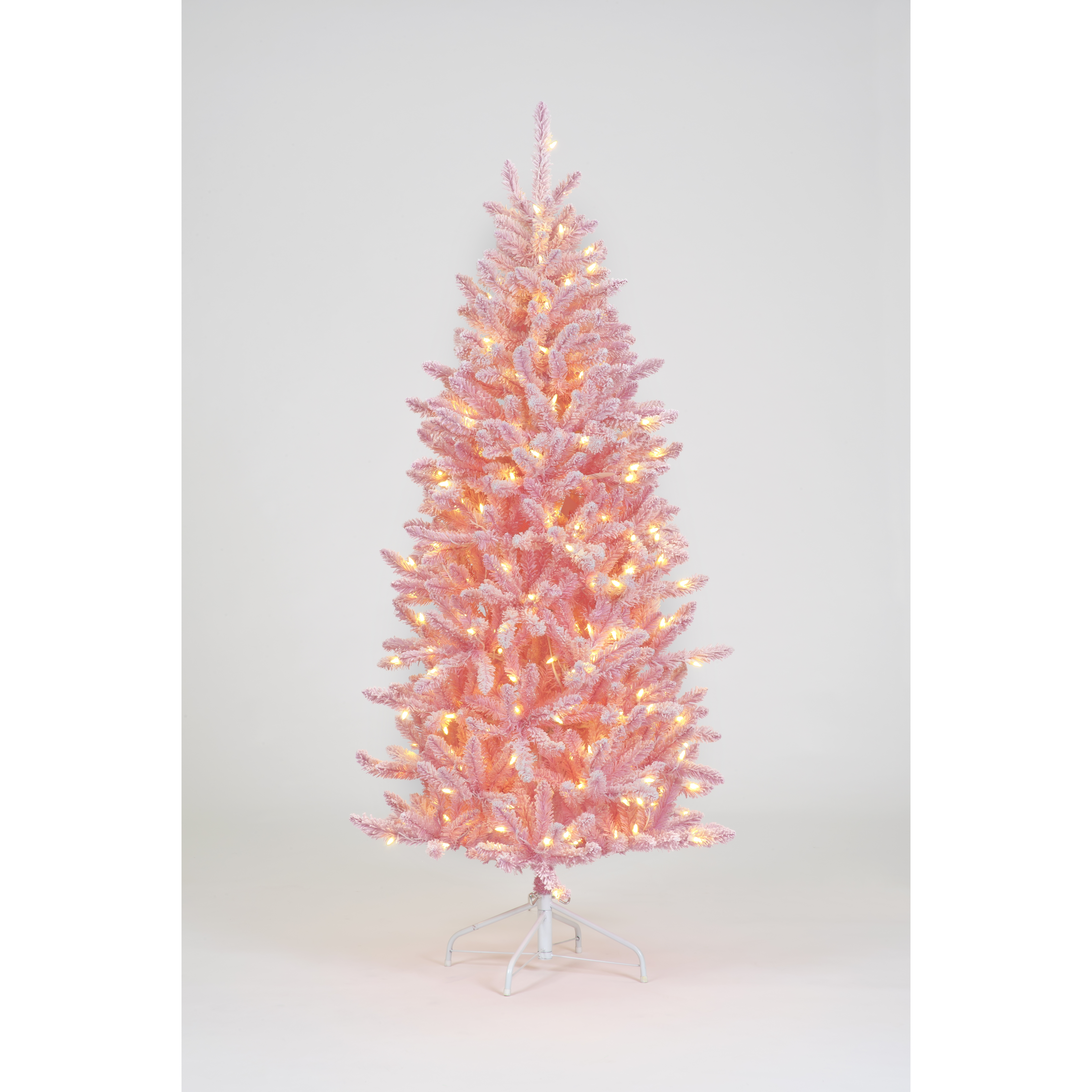 150cm Pre Lit Pink Flocked Tree W 200 Ww Leds 523 Tips Trans Continental Group Ltd